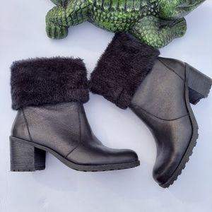 Aerosoles Boot Incognito Leather Fur Cuff Bootie